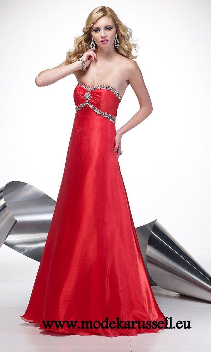 Rotes Satin Empire Abendkleid | Rote Kleider online kaufen ...