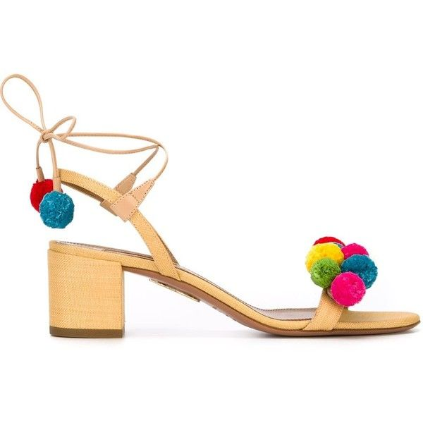 Aquazzura Pompom Sandals ($652) ❤ liked on Polyvore featuring shoes, sandals, genuine leather shoes, beige leather sandals, aquazzura shoes, real leather shoes and leather footwear