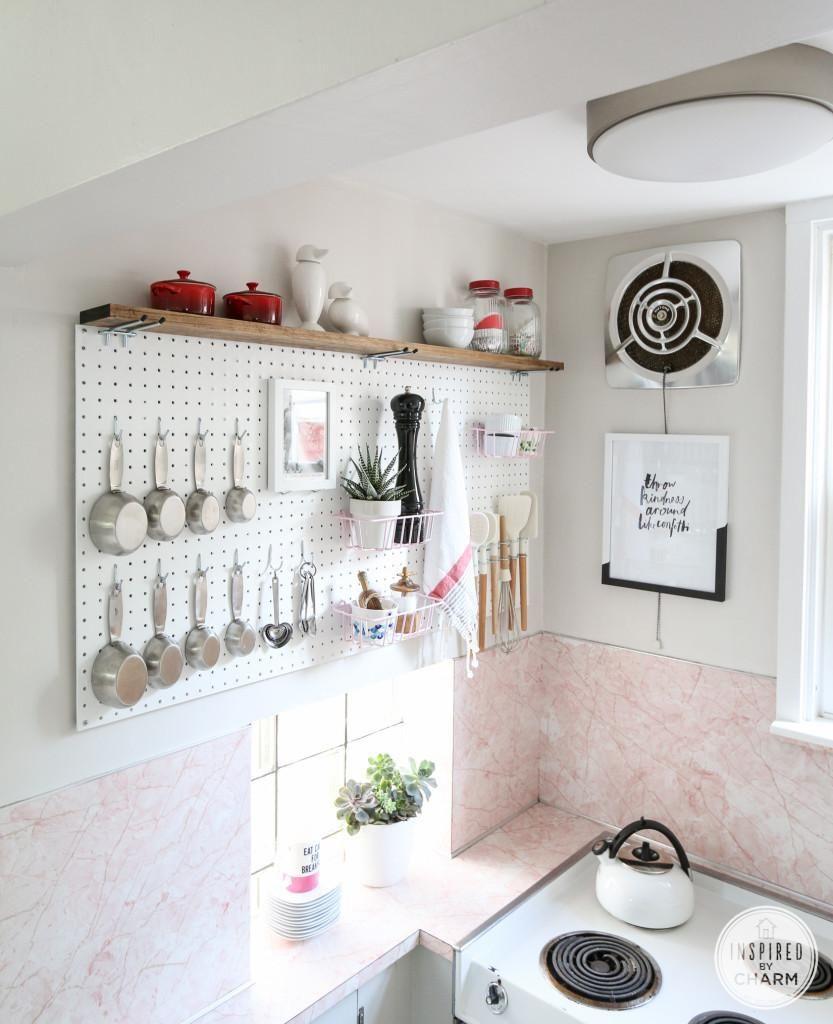 Tableros perforados para la cocina deco pinterest hogar cocinas y organizadores - Tableros de cocina ...