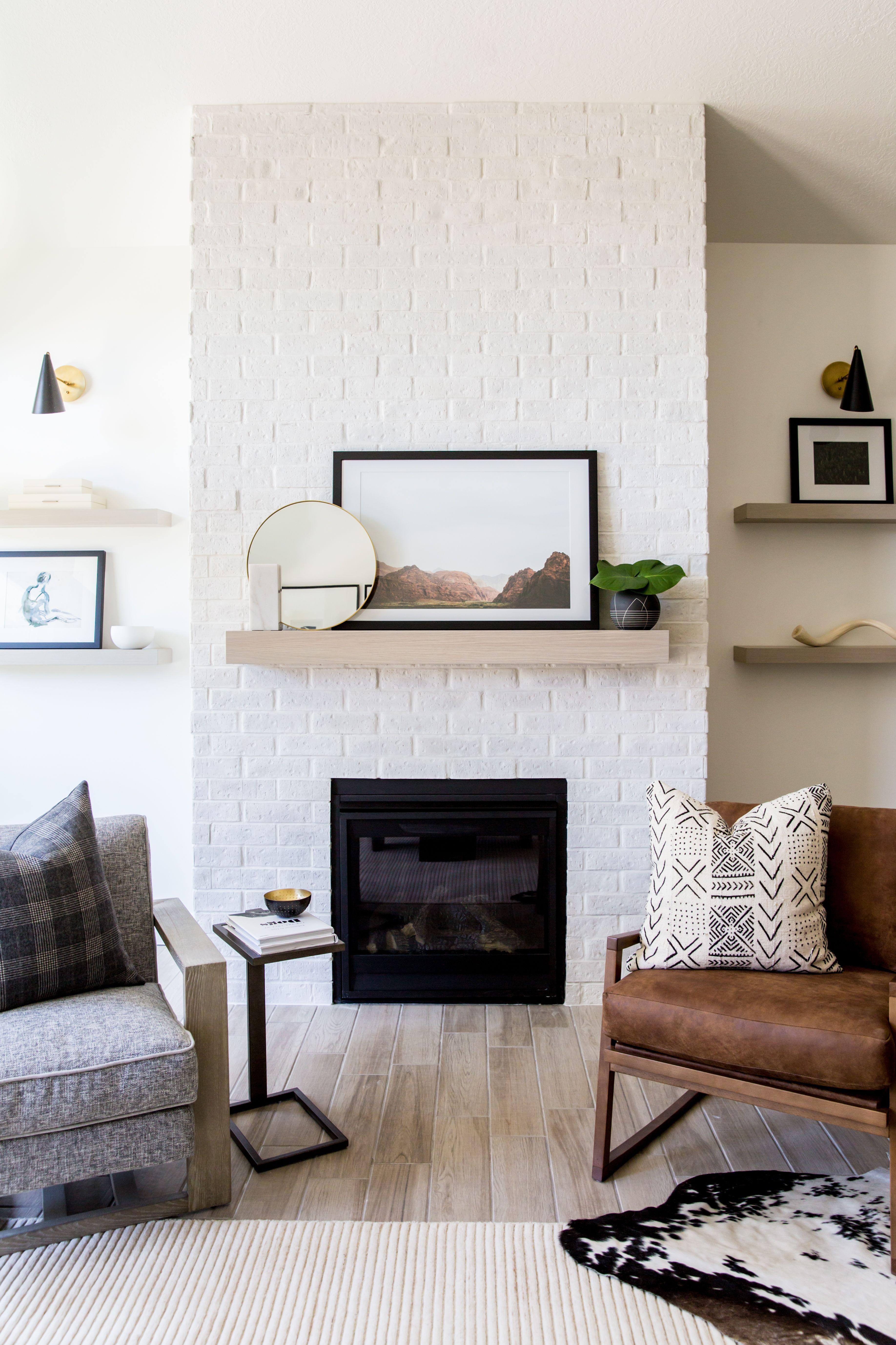 Brick Fireplace   Bright White   Utah Parade of Homes 2018 #whitebrickfireplace