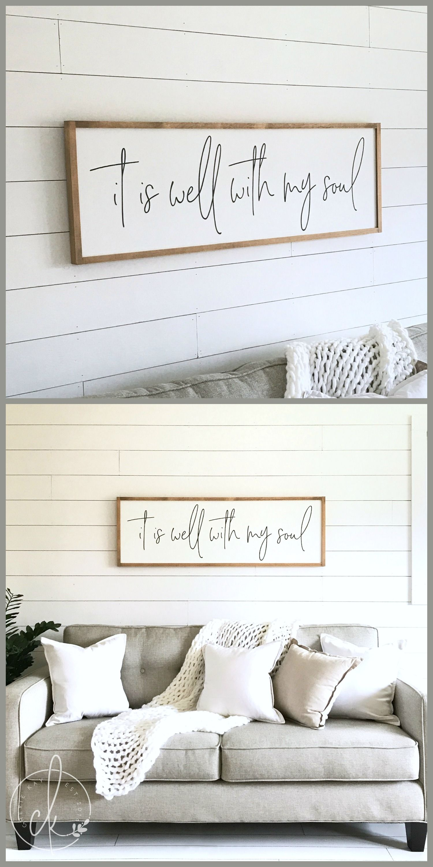 Living room sign | it is well with my soul | wood sign | living room ...