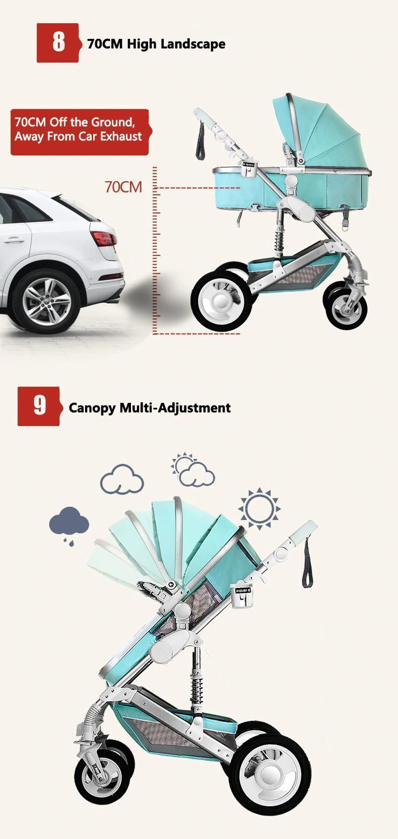 Maternity Luxury 3 in 1 Baby Stroller Travel System (Out