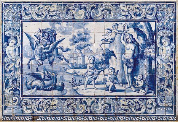 """""""Andrómeda"""". Panel de azulejos que representan escena mitológica. Palacio de los condes de Óbidos (Lisboa)"""