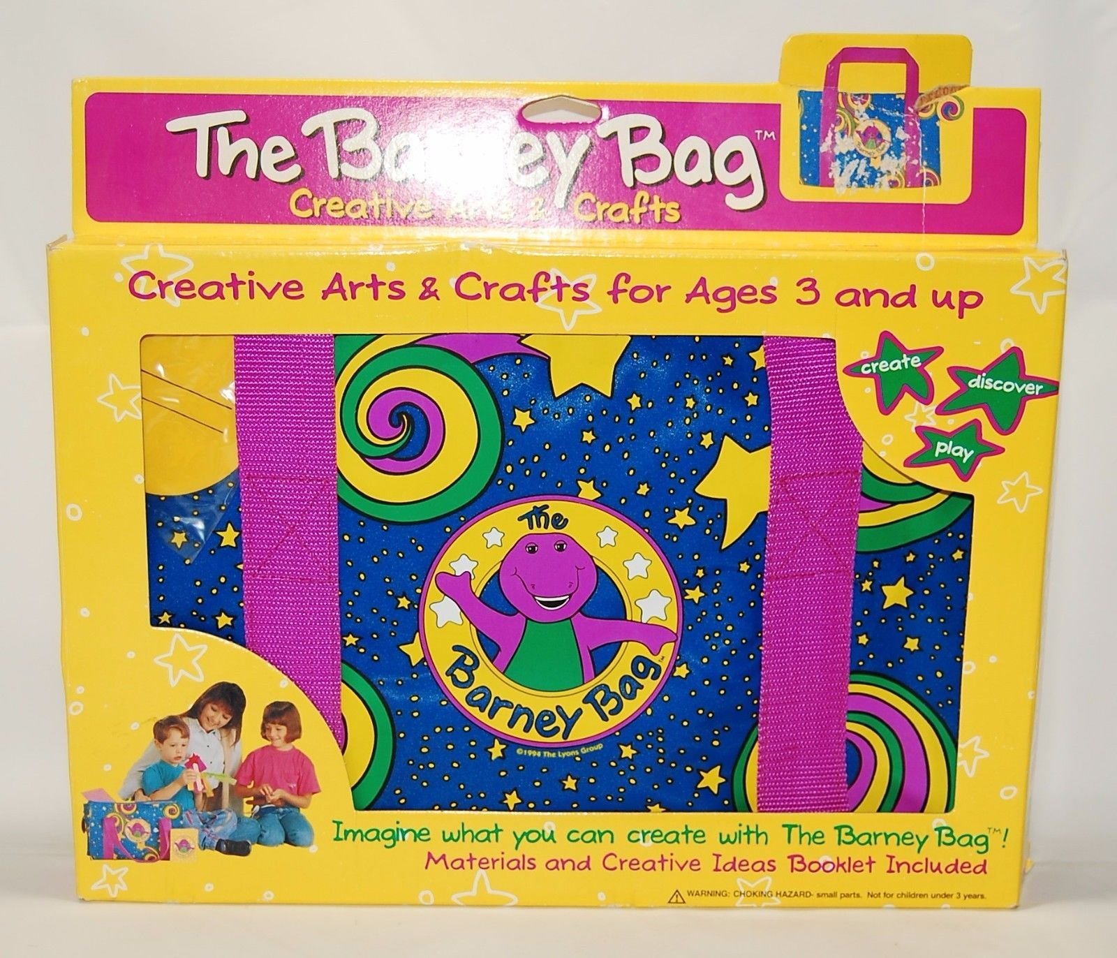 The Barney Bag W Arts Craft Kit 1994 Lyons Group Vintage Rare New In Box
