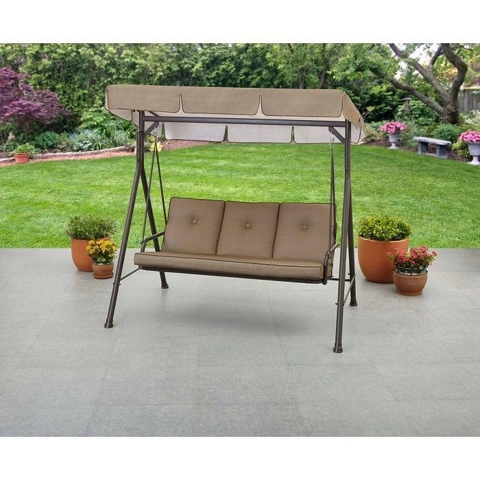 Outdoor Canopy Swing Patio Porch Garden Furniture 3 Seat Yard Cover Metal Bench Canopy Swing Canopy Outdoor Porch Garden