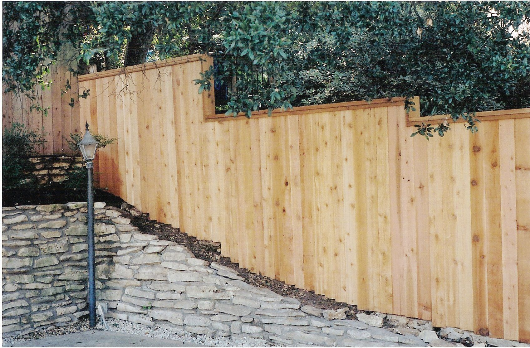 Stair-stepped cedar fence | Fences | Pinterest | Stair steps and Fences
