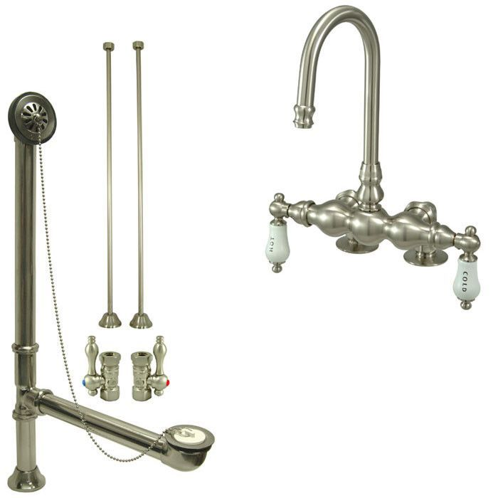 Satin Nickel Deck Mount Clawfoot Bathtub Faucet Package Supply