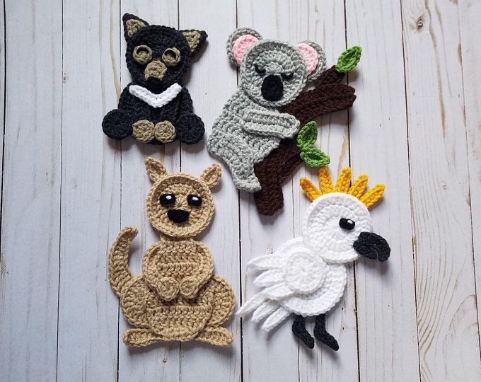 Woodland animals applique pack crochet pattern only beaver