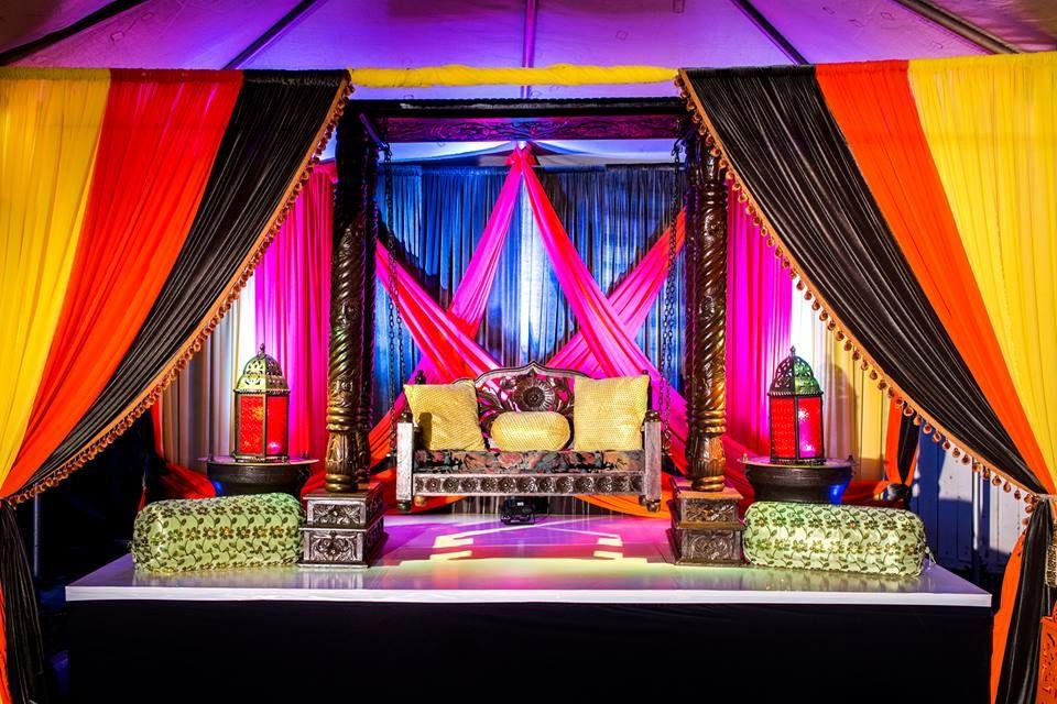 Mehndi stage. Sangeet stage. Drapery. Wedding. Reception