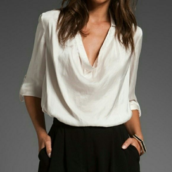 47da3ac1d3818c VINCE Collared Cowl Neck Blouse in Cream Satin This blouse features a  fold-over collar & cowl neck. Box pleats at back and knife pleats at  double-button ...