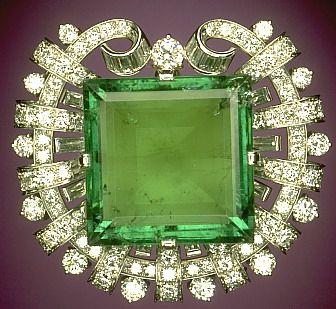 75 carat emerald & diamond brooch