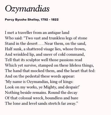 Image result for ozymandias poem