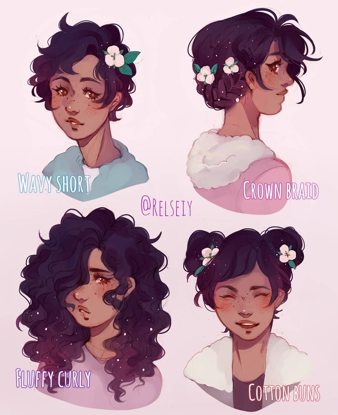 Another Which Is Your Fav Hair Style Short Braid Curly Buns Featuring Cottonpuff This Time Reused Some Of The Ha How To Draw Hair Art Short Hair Drawing