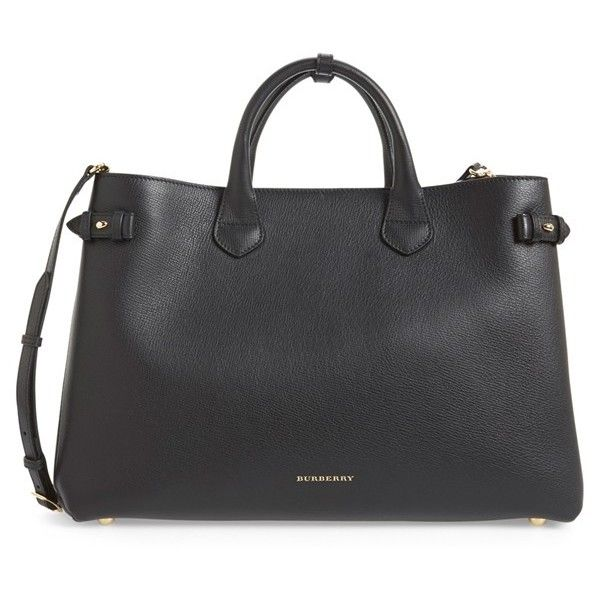 Women's Burberry 'Large Banner' House Check Leather Tote (5.755 BRL) ❤ liked on Polyvore featuring bags, handbags, tote bags, black, leather handbag tote, tote handbags, burberry tote, structured tote bag and handbags totes
