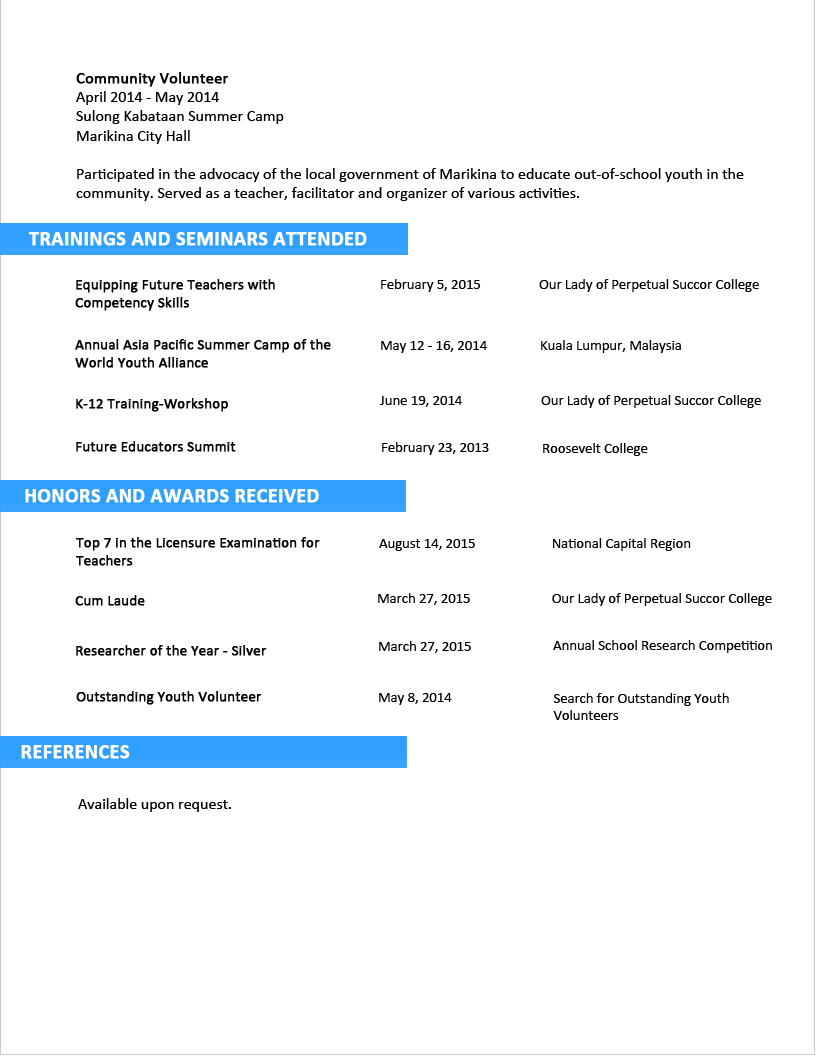 Superbe Sample Resume Format For Fresh Graduates   Two Page Format 3.2