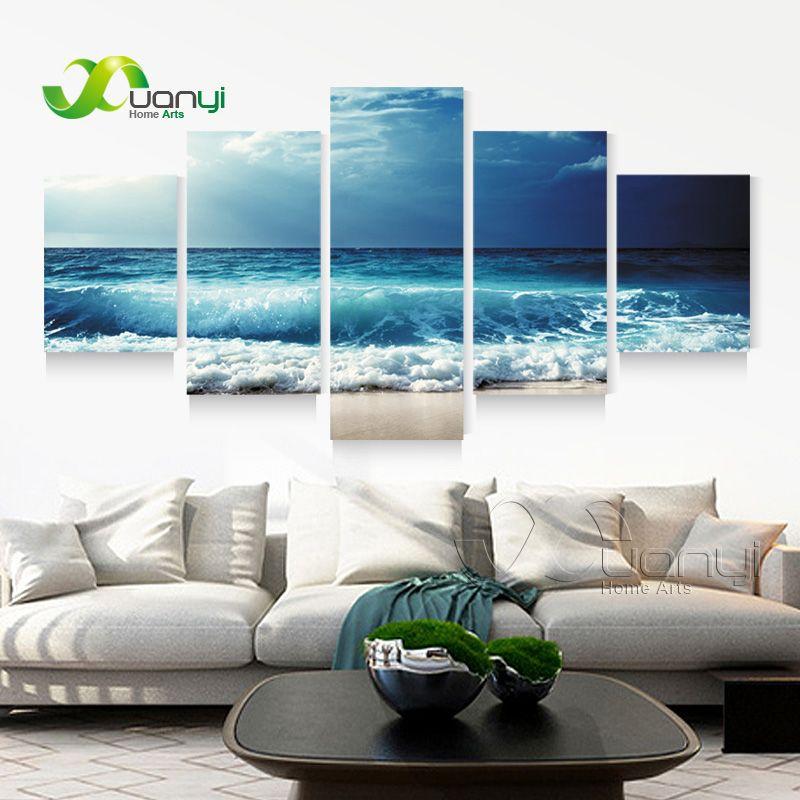 5 Panel Ocean Sea Wave Seascape Canvas Oil Painting Beach Wall Art