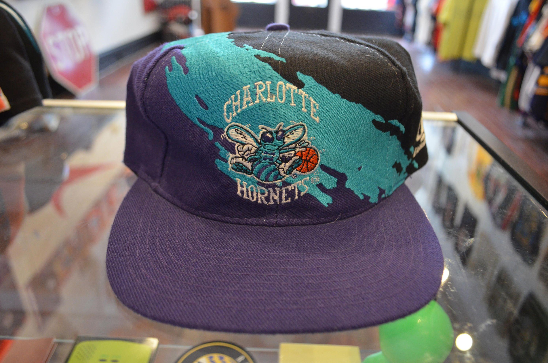 294988d830a Vintage 90s Logo Athletic Charlotte Hornets NBA Splash Unisex Snapback Hat  by RadOTR on Etsy