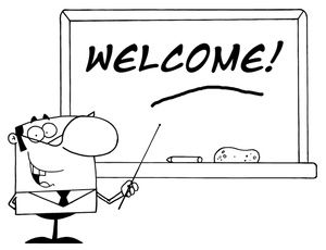 Classroom Clipart Image Welcome Written On The Board Behind A Smiling Teacher In Black And White Classroom Clipart Clip Art Free Classroom