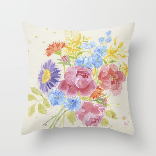 Pretty Bouquet Throw Pillow By Edith Jackson Designs Throw Pillows Pillows Prettiest Bouquet