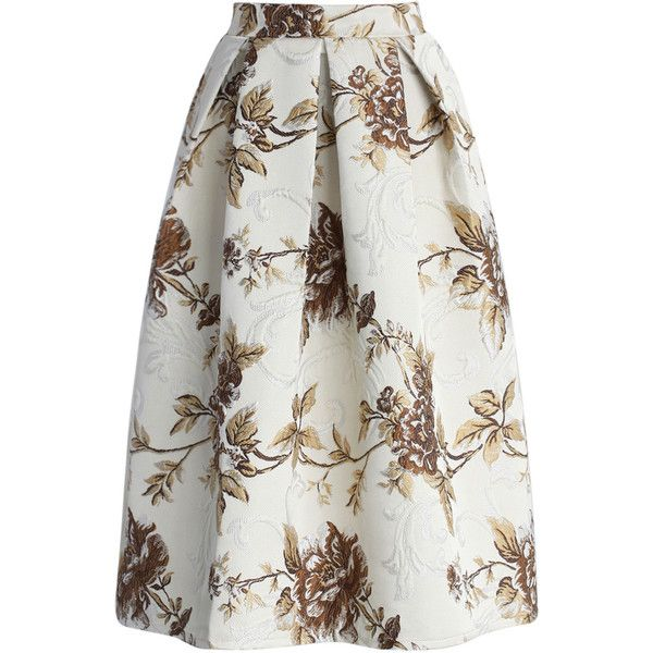 Chicwish Secret Garden Floral Midi Skirt in Beige (200 RON) ❤ liked on Polyvore featuring skirts, saias, multi, floral print skirt, midi skirt, flower print midi skirt, beige pleated skirt and beige skirt
