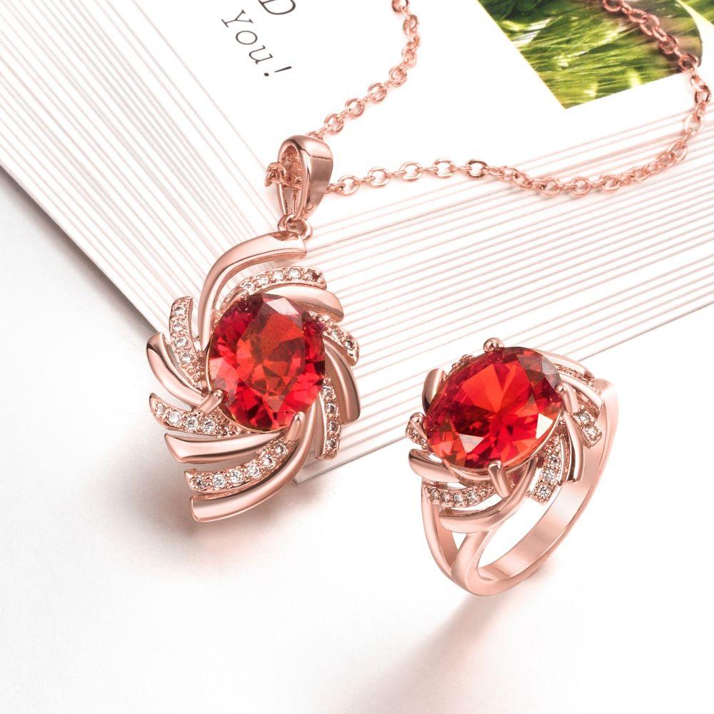 Arlumi k rose gold plated zircon ruby swirl shaped jewelry set