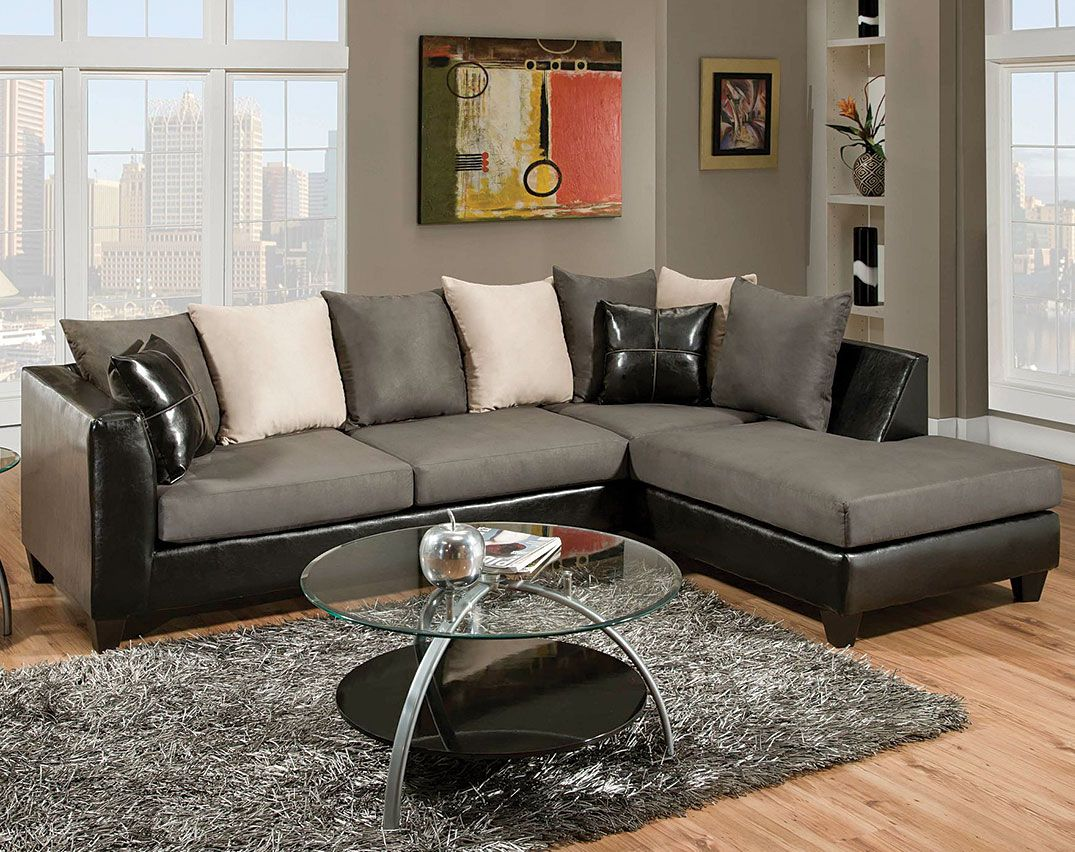 Best Bicast Graphite 2 Pc Sectional Sofa Living Rooms 640 x 480