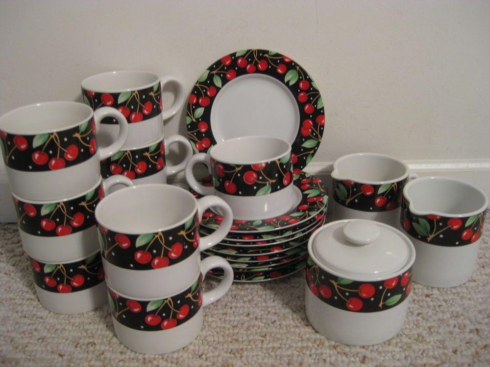 Set Of 21 Mary Engelbreit Cherries Sakura Dishes Plates Mugs