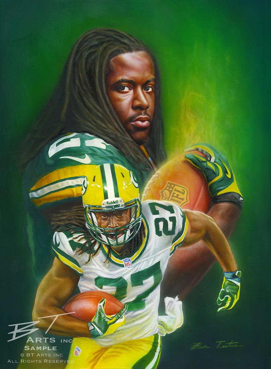 Painting Portrait Of Green Bay Packers Running Back Eddie Lacy Green Bay Packers Players Green Bay Packers Fans Green Bay Packers