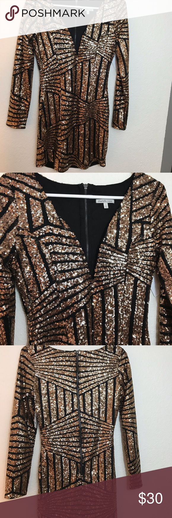 b03e6eb0159f6 NWT Charlotte Russe Black and Gold Sequin Dress Body con, V-neck, zipper in  back Charlotte Russe Dresses Mini