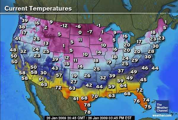 This general weather map shows the current temperatures in cities