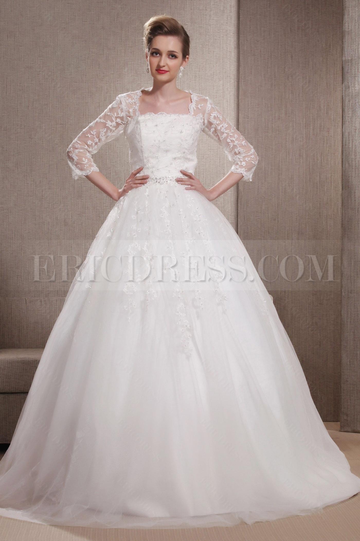 3/4 length lace wedding dress  Elaborate Aline Square Length Sleeves   sleeve wedding