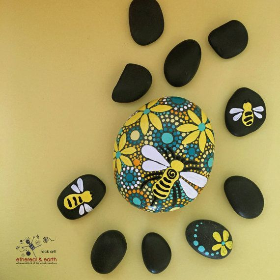 Painted Stones Mandala Inspired Design Bee Motif Rock Art Natural Home Decor