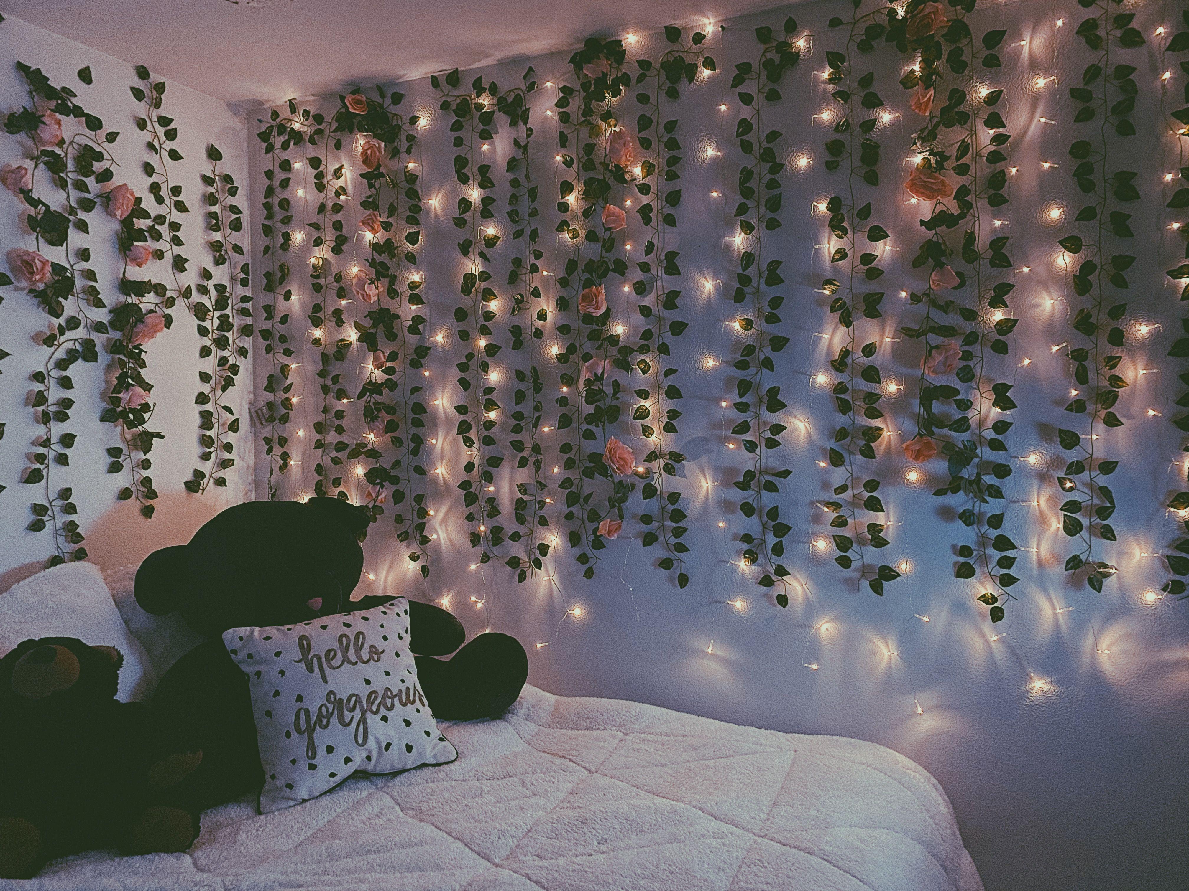 Flower Wall Fairy Lights Bedroom Fairy Lights Bedroom Wall Floral Room
