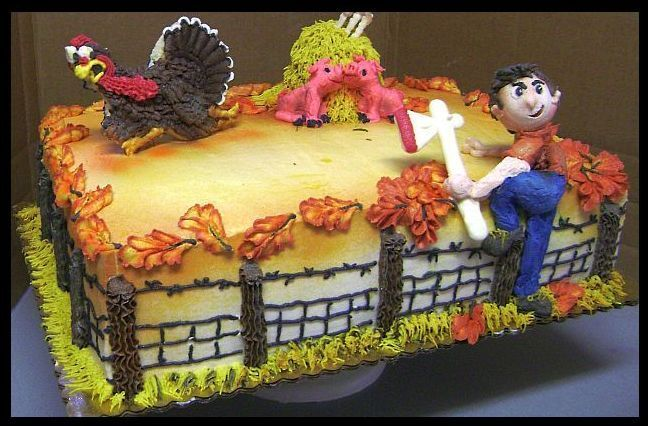 I'm outa here! - Sheet cake iced and decorated with buttercream icing.  Turkey is a cookie, haystack a cupcake and hatchet white chocolate, farmer is figure piped with buttercream.