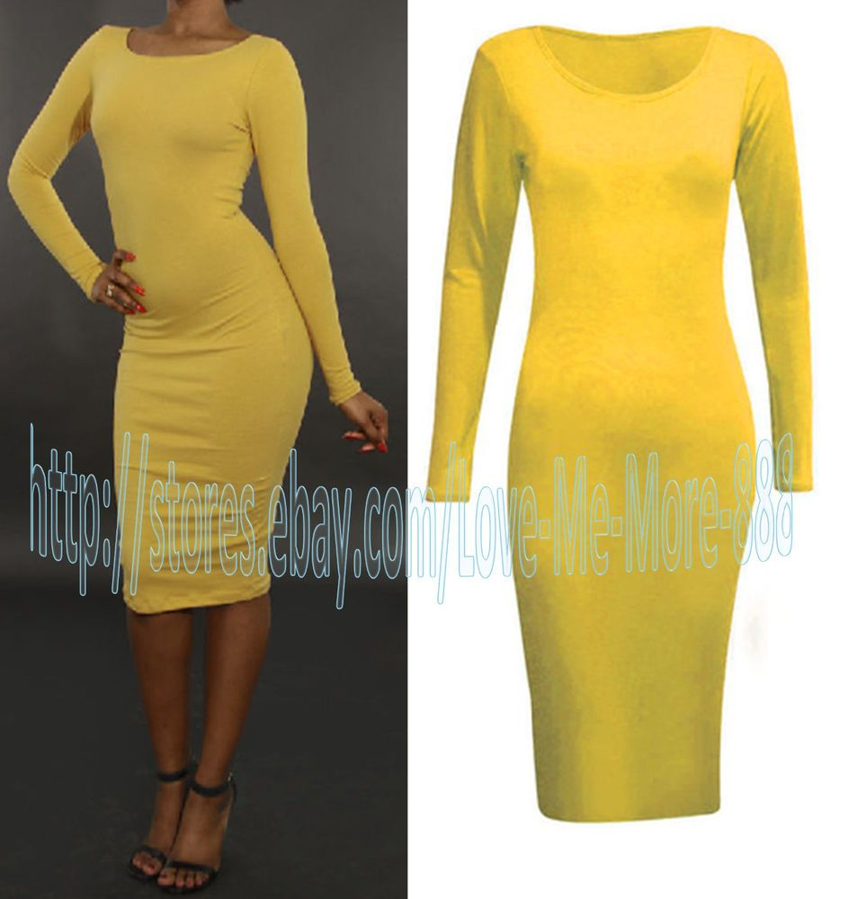 Women long sleeve polyester plain bodycon midi calf maxi dress