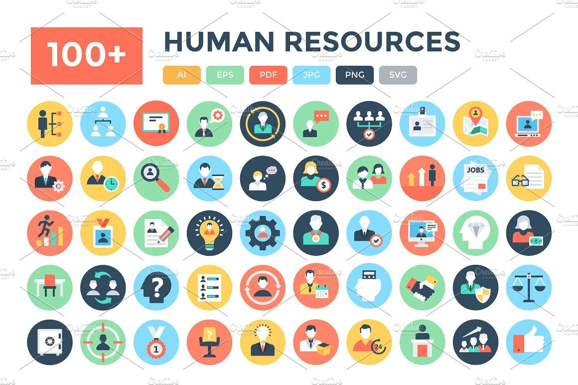 100 Flat Human Resources Icons Internet Icon Web Development