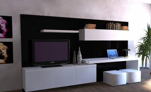 Modular lcd rack panel tv moderno living progetto mobili - Mueble escritorio moderno ...
