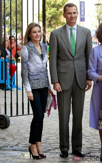20 April 2014 - Spanish Royal Family attend Easter Mass in Palma de Mallorca - jacket by Felipe Varela