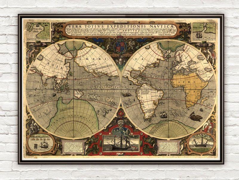 Old World Map Antique - Old world map rug