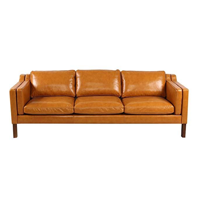 Amazon Com Kardiel Monroe Mid Century Modern Sofa 3 Seat Tan Aniline Leather Kitc Mid Century Modern Leather Sofa Top Grain Leather Sofa Modern Leather Sofa