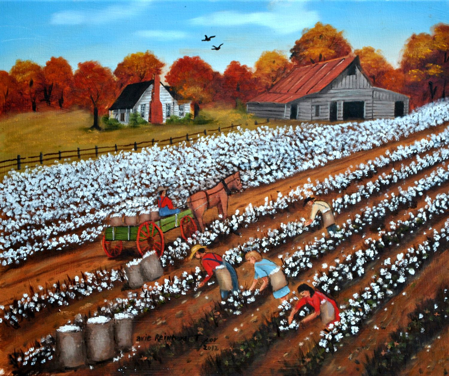 Cotton Picking Pickers Field Original Oil Painting Folk Art Carolina Country Scene Barn Farm House Autumn Wagon Horse Arie Reinhardt Taylor by jagartist on Etsy