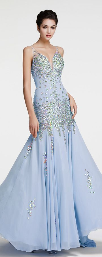 Light Blue Mermaid Crystal Evening Dresses Pageant Dress | Pageants ...