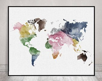Travel map large world map watercolor world map wall art world travel map large world map watercolor world map wall art world map gumiabroncs Gallery