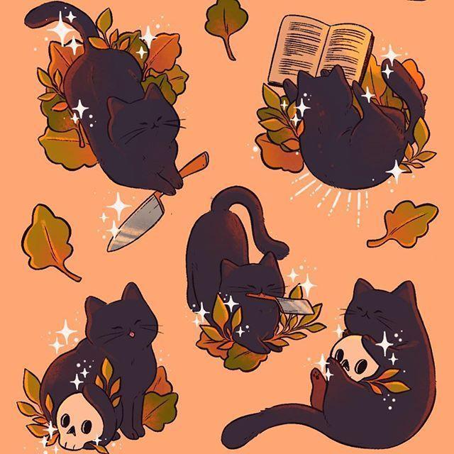 Black Cats Art By Lanajay Art Awkward Crop Of A New Halloween Sticker Sheet I Ll Have Soon I Love How These Lil Kittie Cat Art Black Cat Art Cute Drawings