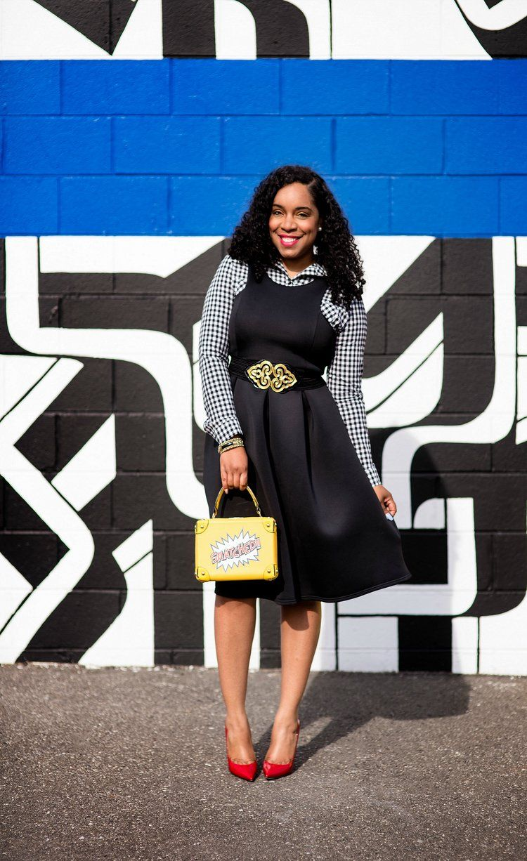 Style u poise black midi dress red pumps and snatched purse