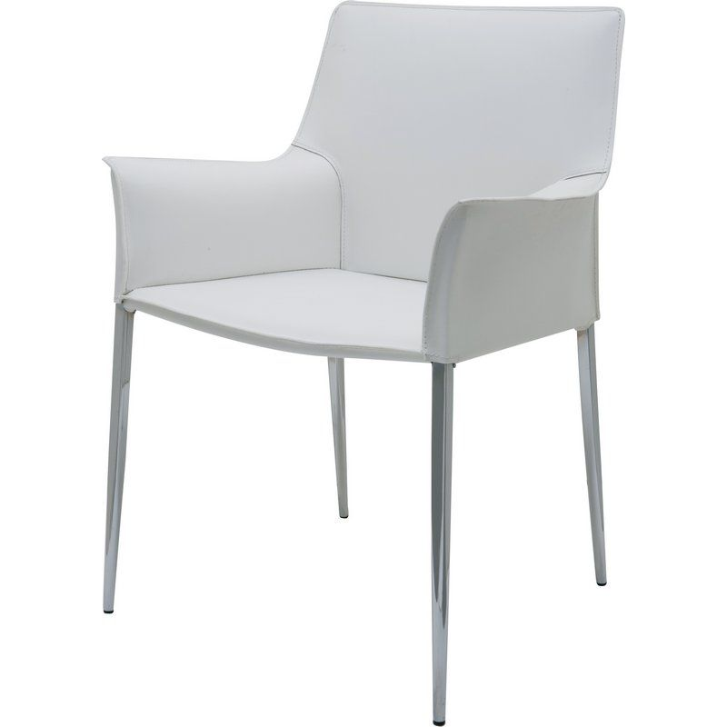 Amazing Nuevo Colter Arm Dining Chair White Leather Chrome Legs In Machost Co Dining Chair Design Ideas Machostcouk