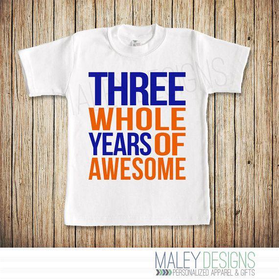 Third Birthday Shirt Boy 3rd Three Whole