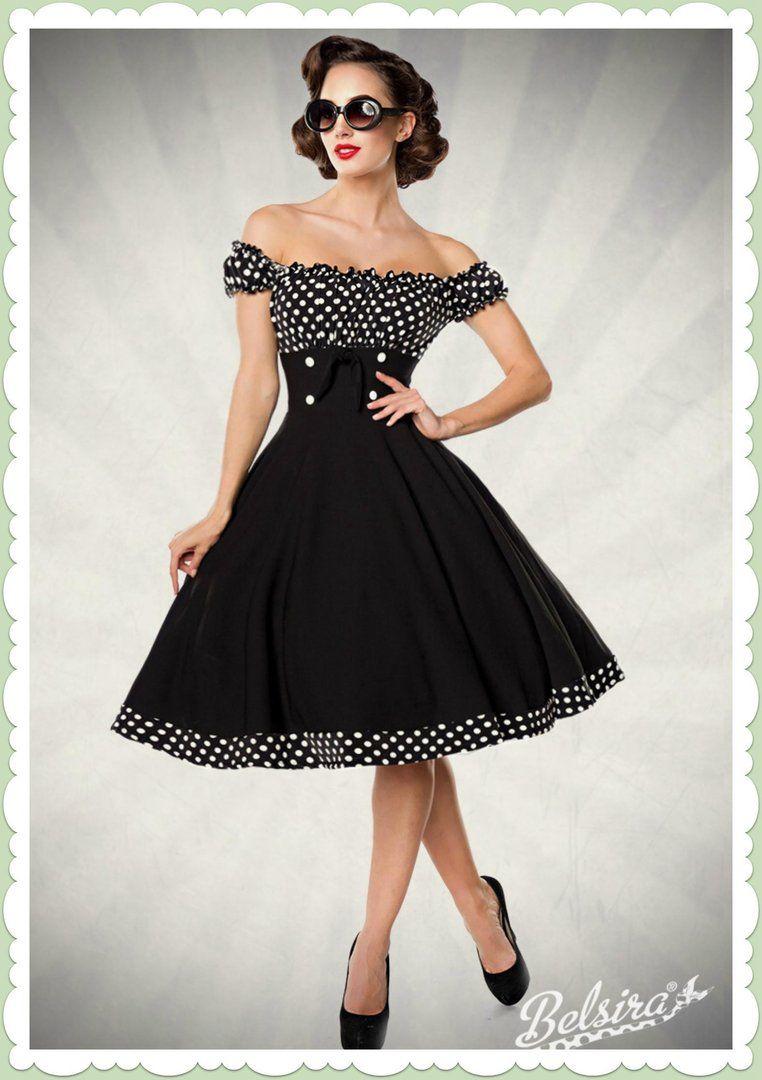 Belsira 4er Jahre Rockabilly Petticoat Kleid - Claire - Schwarz