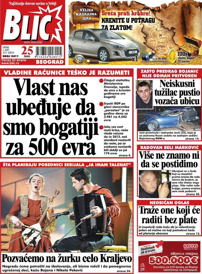 """Naslovna strana """"Blica"""" za 6. mart 2012. Comic books"""