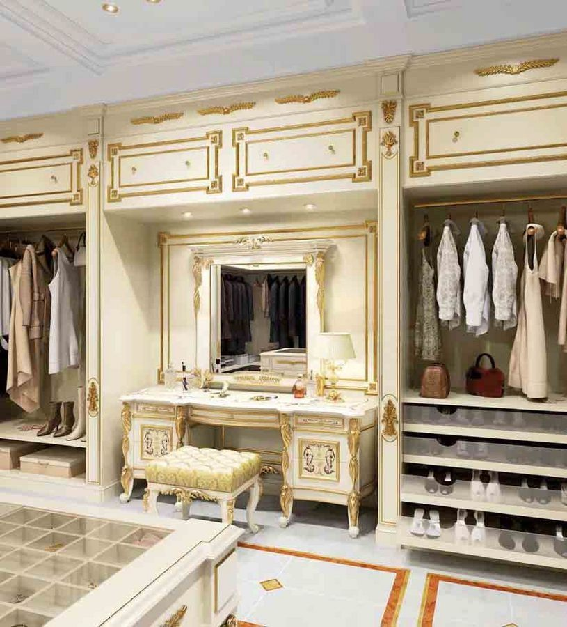 Vanity Furniture For Wardrobe White Coloured With Gold Decorations